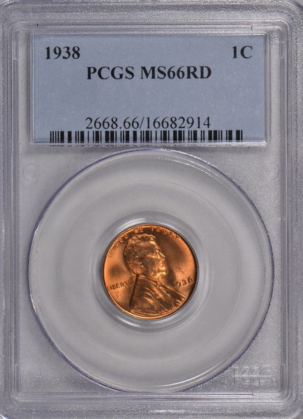 1938 Lincoln Cent PCGS MS-66 RD #162293