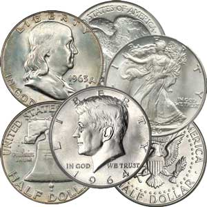 90% Silver Half Dollars Average Circ. $50 Face-Value Bag