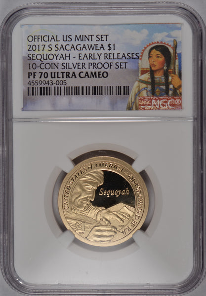 2017-S Sacagawea Dollar Sequoyah NGC PF-70UC Early Release