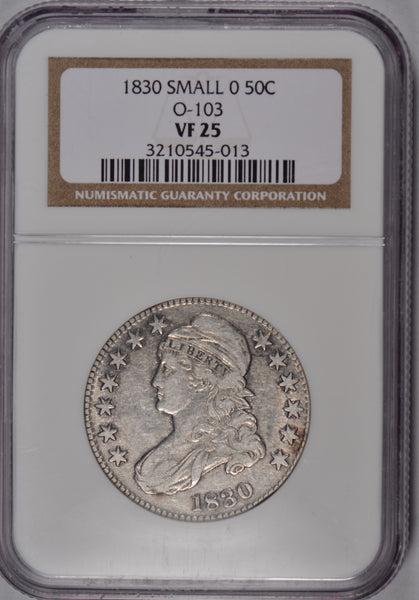 "1830 Capped Bust Half Dollar Small ""O"" NGC VF-25 #183810"