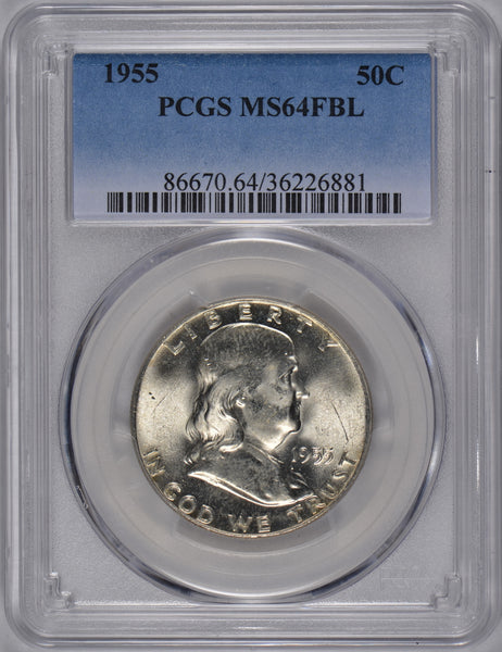 1955 Franklin Half Dollar PCGS MS-64FBL #184691