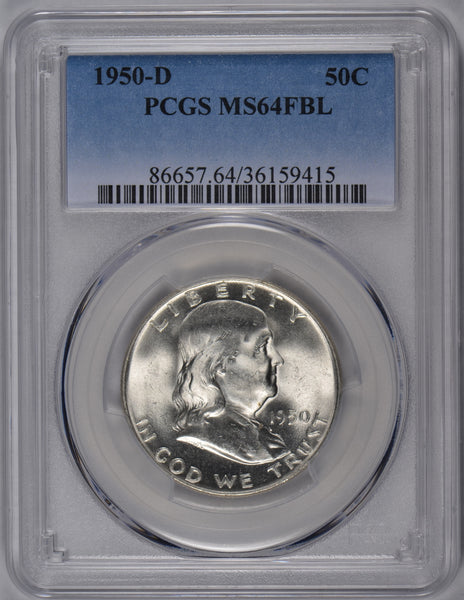 1950-D Franklin Half Dollar PCGS MS-64FBL #181622