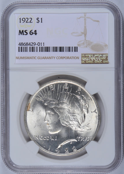 1922 Peace Dollar NGC MS-64