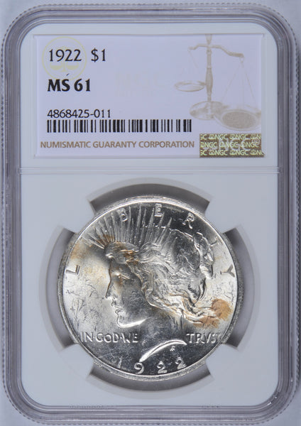 1922 Peace Dollar NGC MS-61