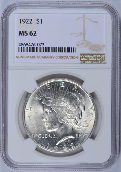 1922 Peace Dollar NGC MS-62