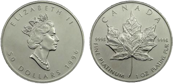 1 oz Canadian Platinum Maple Leaf (Year Varies)