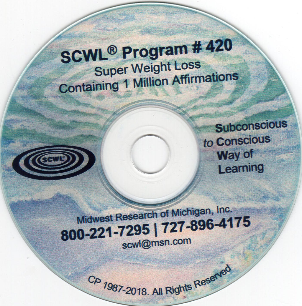 1,000,000 Affirmation Weight Loss Subliminal CD Number 420