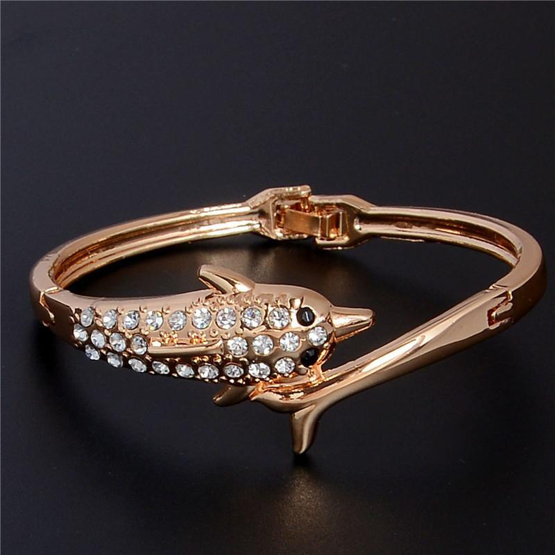 Beautiful Shiny Gold Color Austrian Crystal Dolphin Bangles Bracelet - Discount Jewelry Store