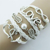 DIY Style Jewelry fashion Leather Cute Infinity Charm Bracelet Silver - Discount Jewelry Store