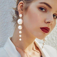 Beautiful Trendy Elegant Created Big Simulated Pearl Long Earrings Pearls String Statement Dangle Earrings For Wedding Party Gift - Discount Jewelry Store
