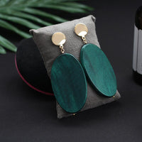 hot Selling Fashion Vintage Oval Malachite Green Dangle Earrings For Women Geometric Natural Wood Statement Earrings Jewelrly Gift - Discount Jewelry Store
