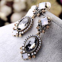 Top Selling  Black Crystal Dangle Earrings For Women Wedding Party Bridal Accessories Trendy Long Fashion Jewelry Holiday Earring - Discount Jewelry Store