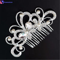 SUSENSTONE Bridal Wedding Butterfly Pearl Hairpin Hair Clip Comb Jewelry - Discount Jewelry Store