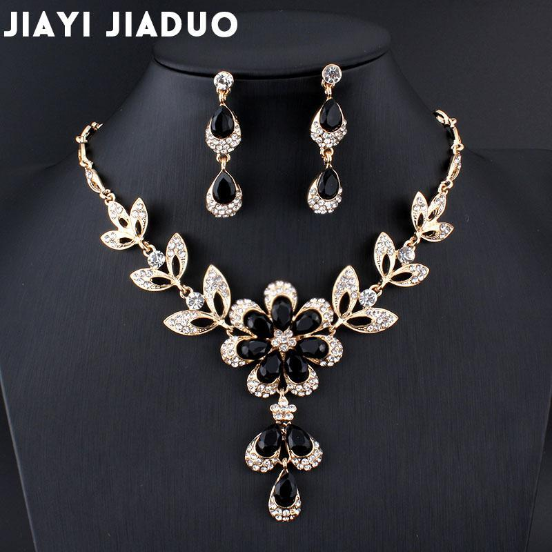 3e0c62183b7 Shop for Best selling Hot African female costume Jewelry set for women Gold  color Black Red Gold-color Necklace earrings set wedding