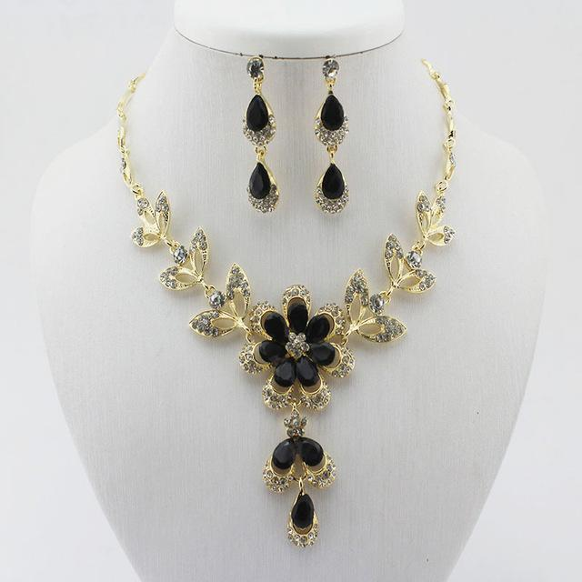 Best selling  Hot African female costume Jewelry set for women Gold color Black Red Gold-color Necklace earrings set wedding - Discount Jewelry Store