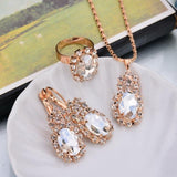Top Selling Fashion Wedding  Jewelry Gold Color Water Drop Shape Crystal Earrings Necklace Adjustable Rings Set Women Jewelry Sets - Discount Jewelry Store