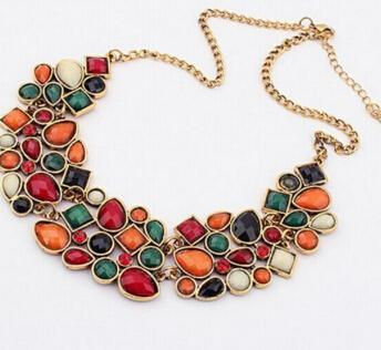 30fb4990253 New Popular 8 Colors Multicolor Big Pendant Clavicle Chain Necklace Women's  Delicate Banquet Jewelry