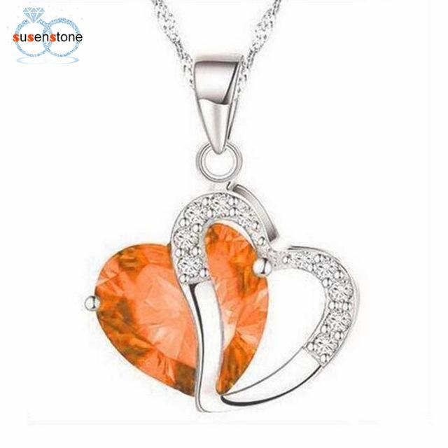 Top Fashion Women Heart Crystal Rhinestone Silver Chain Pendant Necklace Jewelry - Discount Jewelry Store