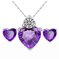 Women Gold Red Heart Crystal Jewelry Sets Wedding Necklace Earring Sets Purple - Discount Jewelry Store