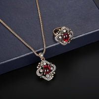 Women Zircon Retro Necklace Earrings Ring Wedding Party Bridal Jewelry Set - Discount Jewelry Store