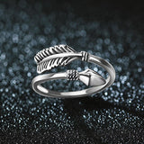 100% 925 Sterling Silver Rings For Women Cupid Arrow Design Vintage Thai Silver Jewelry Open Ring For Lover Best Gifts - Discount Jewelry Store
