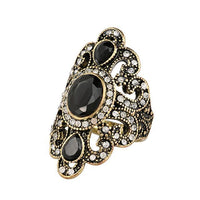 Fashion Women Jewelry Bohemian Style Antique Gold Rings for Women Vintage Jewelry Black Red Resin Stone Turkish Ring female Ethnic Rings - Discount Jewelry Store