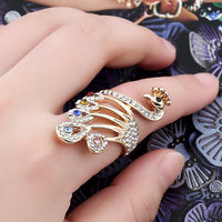New Design Animal Colorful Crystal Rhinestone Peacock Rings for Women Bohemian Style Fashion Wedding Vintage Ring - Discount Jewelry Store