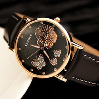 Hot Selling Butterfly Flower Bling Genuine Leather Quartz Wedding Wrist watches - Discount Jewelry Store