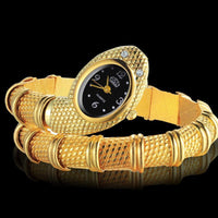 Top Selling Fashion Snake Shaped Bracelet Wrist Watch Women Watches Gold Women's Watches Snake Watch Clock - Discount Jewelry Store