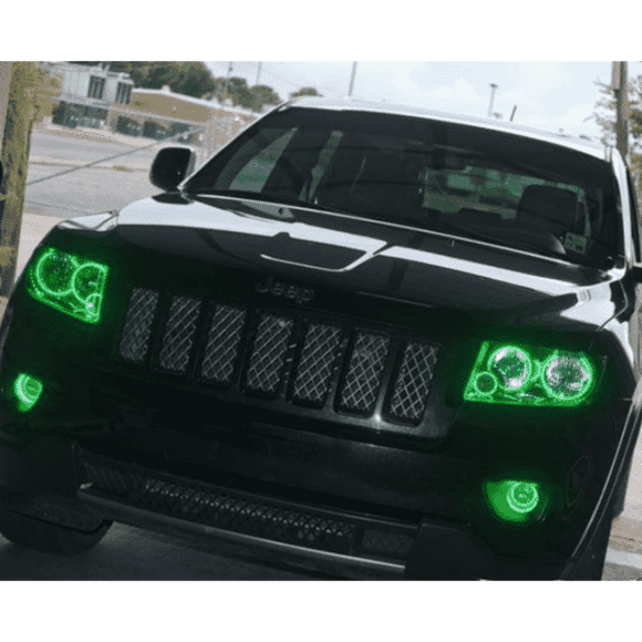 1999-2004 Jeep Grand Cherokee ColorSHIFT LED Pre-Assembled Halo Headlights (Black) by Oracle™