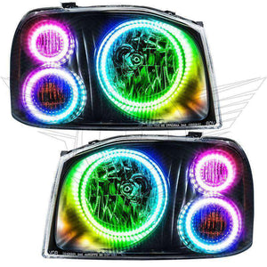 2001-2004 Nissan Frontier ColorSHIFT LED Pre-Assembled Triple Oracle™ Halo Headlights