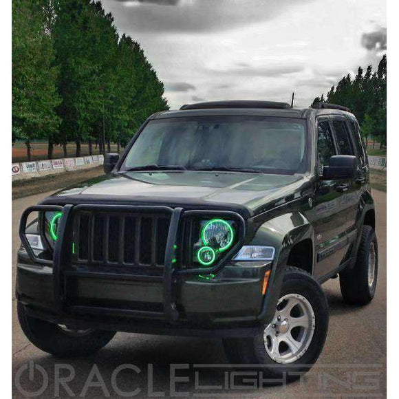 2002-2004 Jeep Liberty ColorSHIFT LED Pre-Assembled Halo Fog Lights by Oracle™