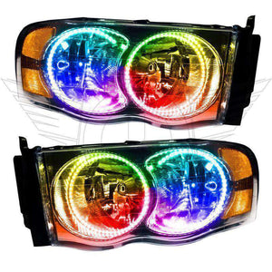 2002-2005 Dodge Ram ColorSHIFT LED Pre-Assembled Oracle™ Halo Headlights