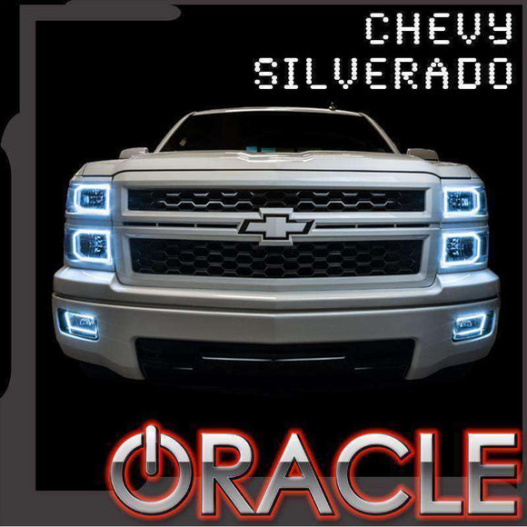 2003-2006 Chevrolet Silverado ColorSHIFT LED Pre-Assembled Square-Style Oracle™ Halo Headlights