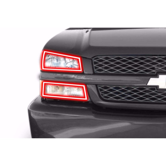 2003-2006 Chevrolet Silverado Curved Style Profile Prism (formerly ColorMorph) Halo Headlight Kits by LED Concepts™