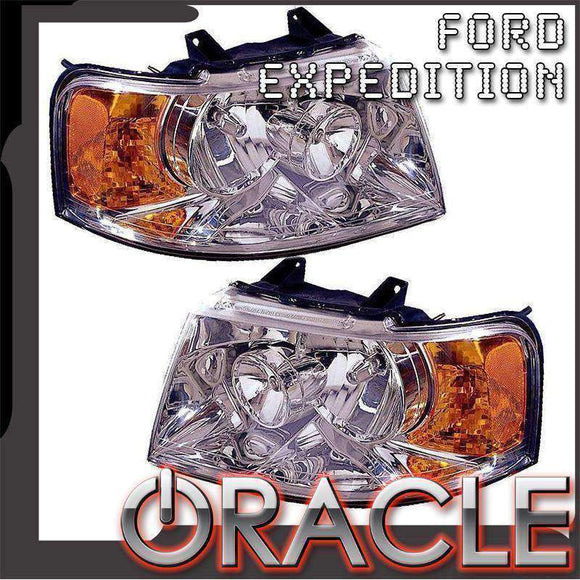 2003-2006 Ford Expedition ColorSHIFT LED Pre-Assembled Halo Headlights CHROME by Oracle™