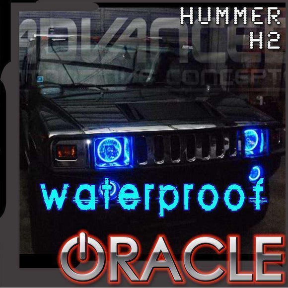 2003-2010 Hummer H2 ColorSHIFT Surface Mount LED Headlight Halo Kit by Oracle™