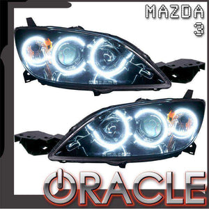 2004-2009 Mazda 3 4 DR Non-HID LED Pre-Assembled Oracle™ Halo Headlights