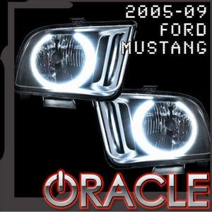 2005-2009 Ford Mustang LED Pre-Assembled Halo Headlights (Black Paint) by Oracle™