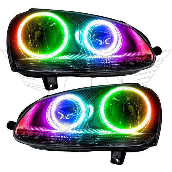 2006-2010 Volkswagen Jetta ColorSHIFT LED Pre-Assembled Halo Headlights by Oracle™ - Chrome