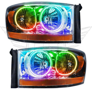 2006 Dodge Ram ColorSHIFT LED Pre-Assembled Oracle™ Halo Headlights - Chrome