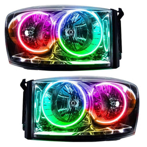 2007-2008 Dodge Ram ColorSHIFT LED Pre-Assembled Halo Headlights Chrome by Oracle™ - Chrome