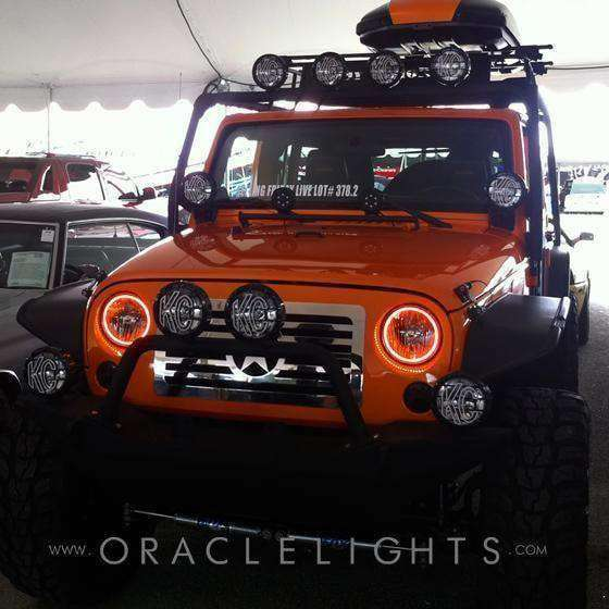 2007-2009 Jeep Wrangler ColorSHIFT LED Pre-Assembled Halo Fog Lights by Oracle™