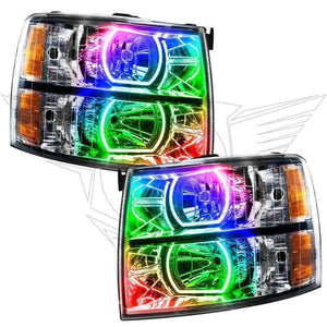2007-2013 Chevrolet Silverado Square Style ColorSHIFT LED Pre-Assembled Oracle™ Halo Headlights - Chrome
