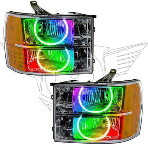 2007-2013 GMC Sierra Round Style ColorSHIFT LED Pre-Assembled Oracle™ Halo Headlights