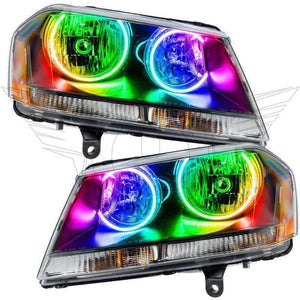 2008-2013 Dodge Avenger RT ColorSHIFT LED Pre-Assembled Halo Headlights (Black) by Oracle™