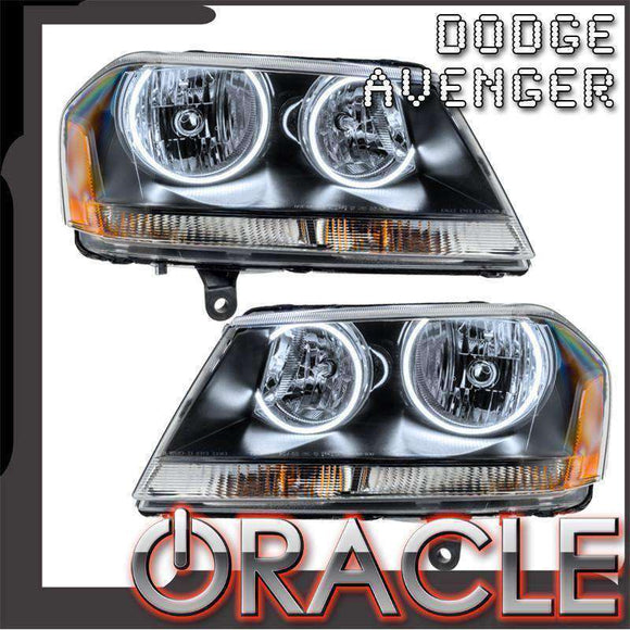 2008-2013 Dodge Avenger RT LED Pre-Assembled Halo Headlights (Black) by Oracle™