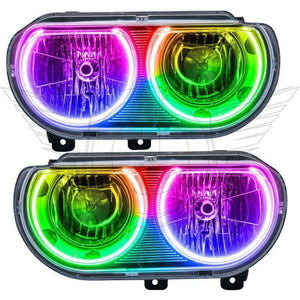 2008-2014 Dodge Challenger Non-HID ColorSHIFT LED Pre-Assembled Oracle™ Halo Headlights - Chrome