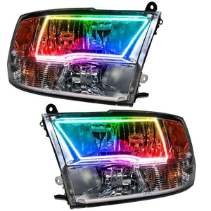 2009-2017 Dodge Ram Sport ColorSHIFT LED Pre-Assembled Oracle™ Halo Headlights - Chrome