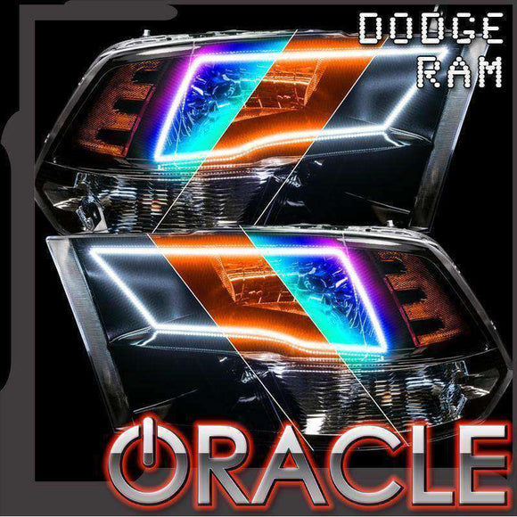 2009-2018 Dodge Ram RGB+A ColorSHIFT+ Switchback Quad LED Headlight Halo Kit by Oracle™